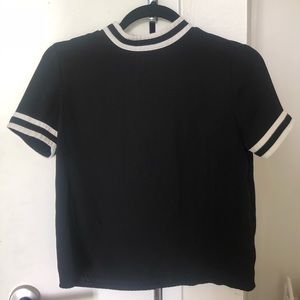 Black and white high neck / mock neck blouse xs